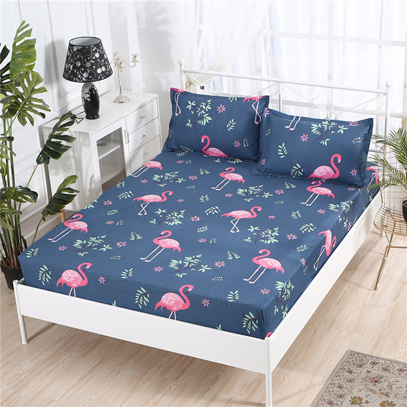 RZcortinas Cartoon Pink Flamingo Bedding Sets 3pcs Geometric Pattern Bed Linings Bed Sheet And 2 Pieces Pillowcases Cover Set