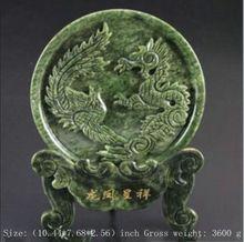 South China hand-carved Taiwan jade dragon screen
