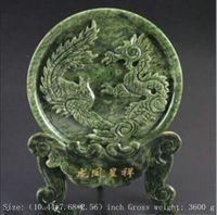 Exquisito 100% Natural Jade Dragón y Phoenix Estatua Ornamento Redondo Placa