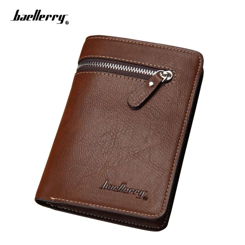 Baellerry Luxury Genuine Cow Leather Men Wallets Zipper Coin Pocket Male Small Wallet Original Leather Crazy Horse Money Purse etya genuine cow leather men wallets