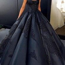 Скромные готические черные свадебные платья Новое поступление бальное платье с вышивкой на тонких бретелях Свадебные платья размера плюс