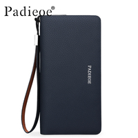 Padieoe Luxury Brand Fashion Men Clutch High Quality Long Wallet for Male Genuine Leather Men's Card Holder Phone Pocket Casual