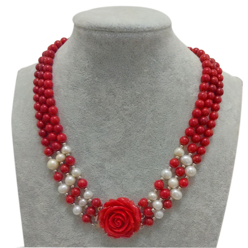где купить 3 rows 17-19 inches 7-8mm Red Round Natural Coral Beads & Natural Freshwater Pearls Necklace по лучшей цене