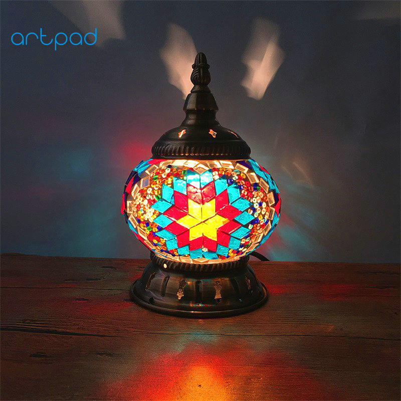 Artpad Mediterranean Retro Style Glass Turkish Mosaic Table Lamps Handworked Study Bedroom Home Art Decor Turkish