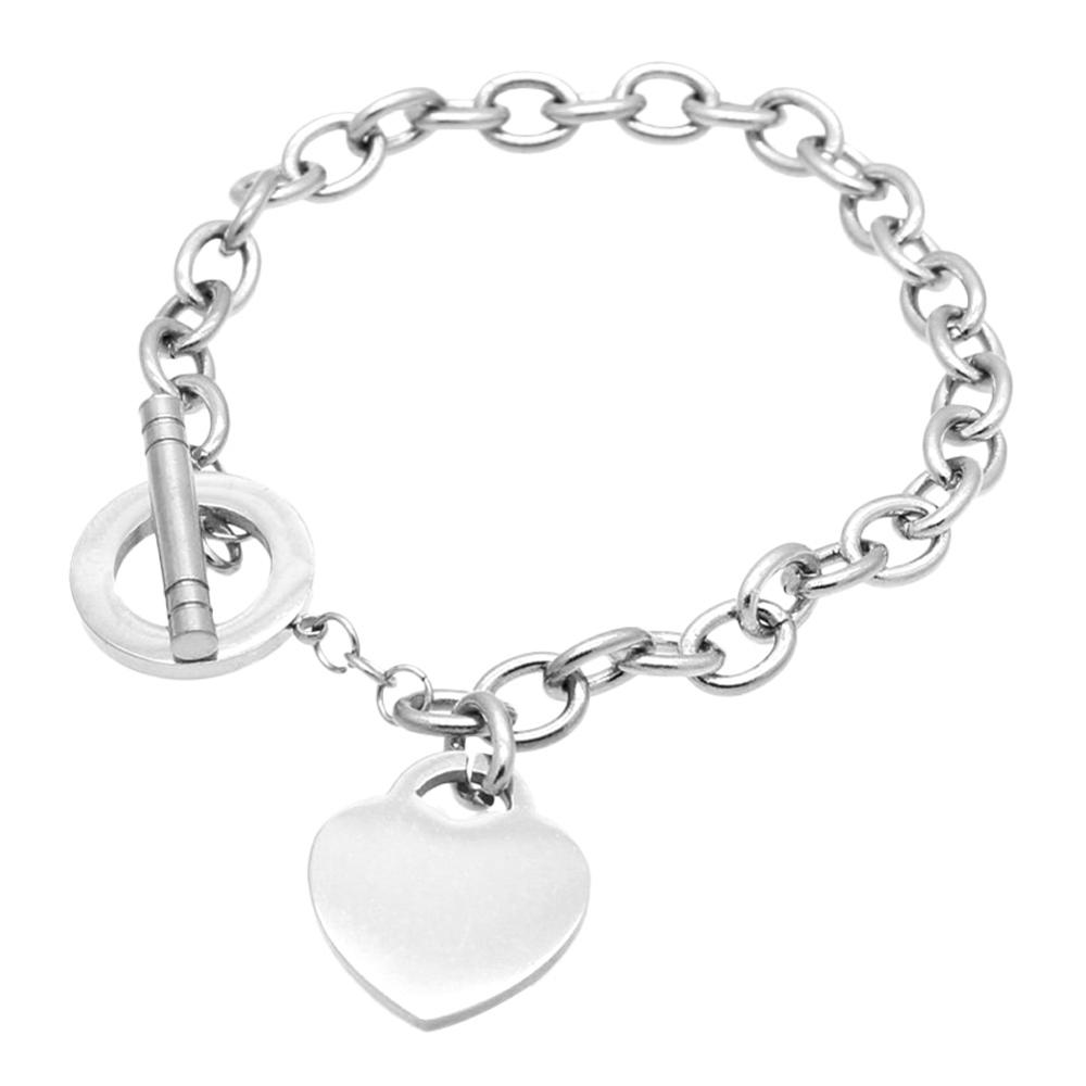 KLEEDER  Stainless Steel Love Heart Shaped Bracelet Rose Gold Silver Color Titanium Bracelets for Women Jewelry