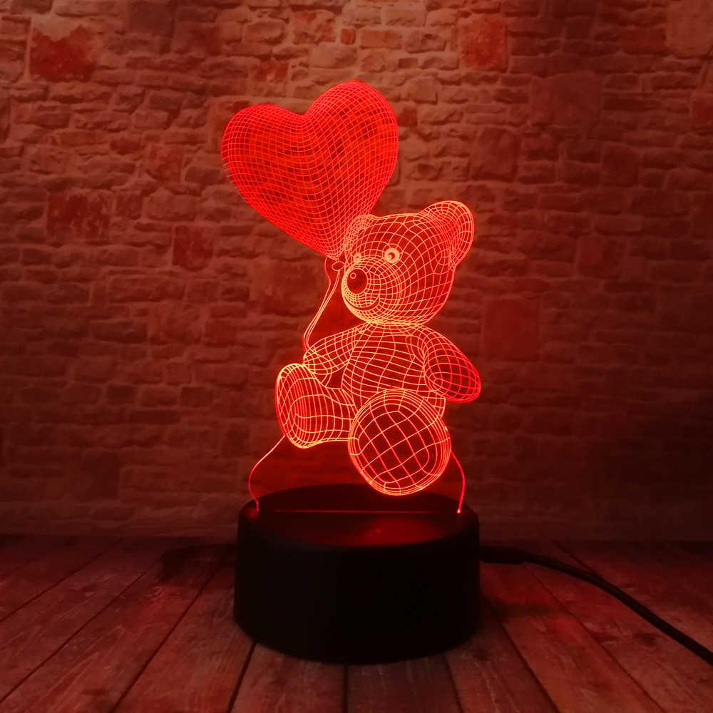 Детская Ночная 3D лампа, светодиодный светильник, Датчик изменения цвета, светодиодный Ночной светильник с медведем, воздушный шар в форме сердца, украшение для дома, лучший подарок для ребенка