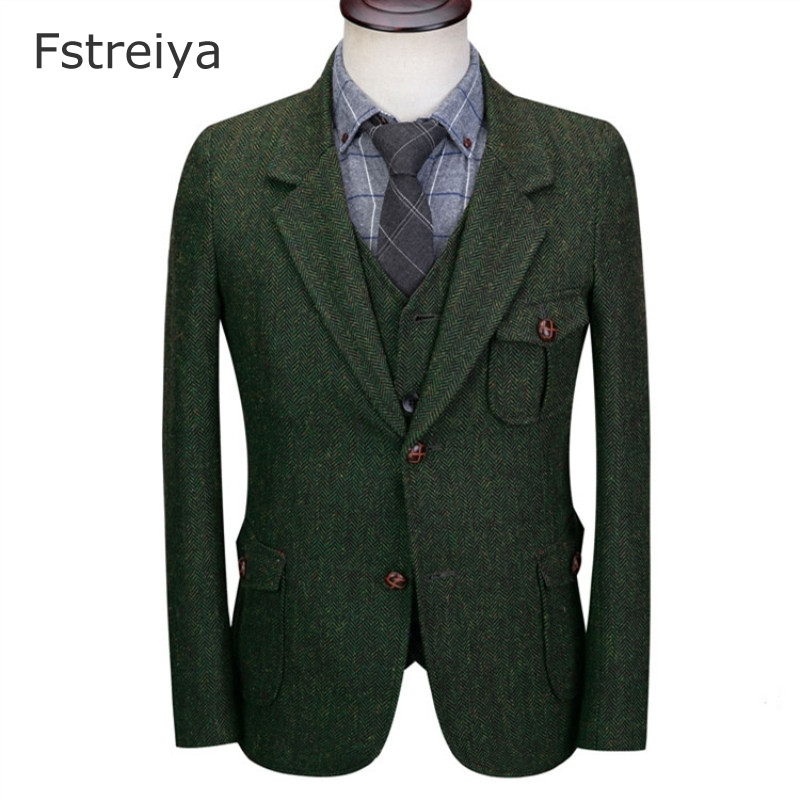 Custom made mens suits with vest pants tailored costume tweed suit costume homme 3 pieces men suits for wedding straight jacket
