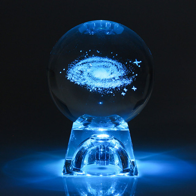 6cm 3D Engraved Galaxy solar system Crystal lamp night light luminous Craft Glass round Sphere Home office table Decor lamp Gift
