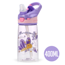 400ml Cartoon Water Bottle Leakproof Drinking BPA Free Flip Top Eco-friendly Kids Lid with Straw for