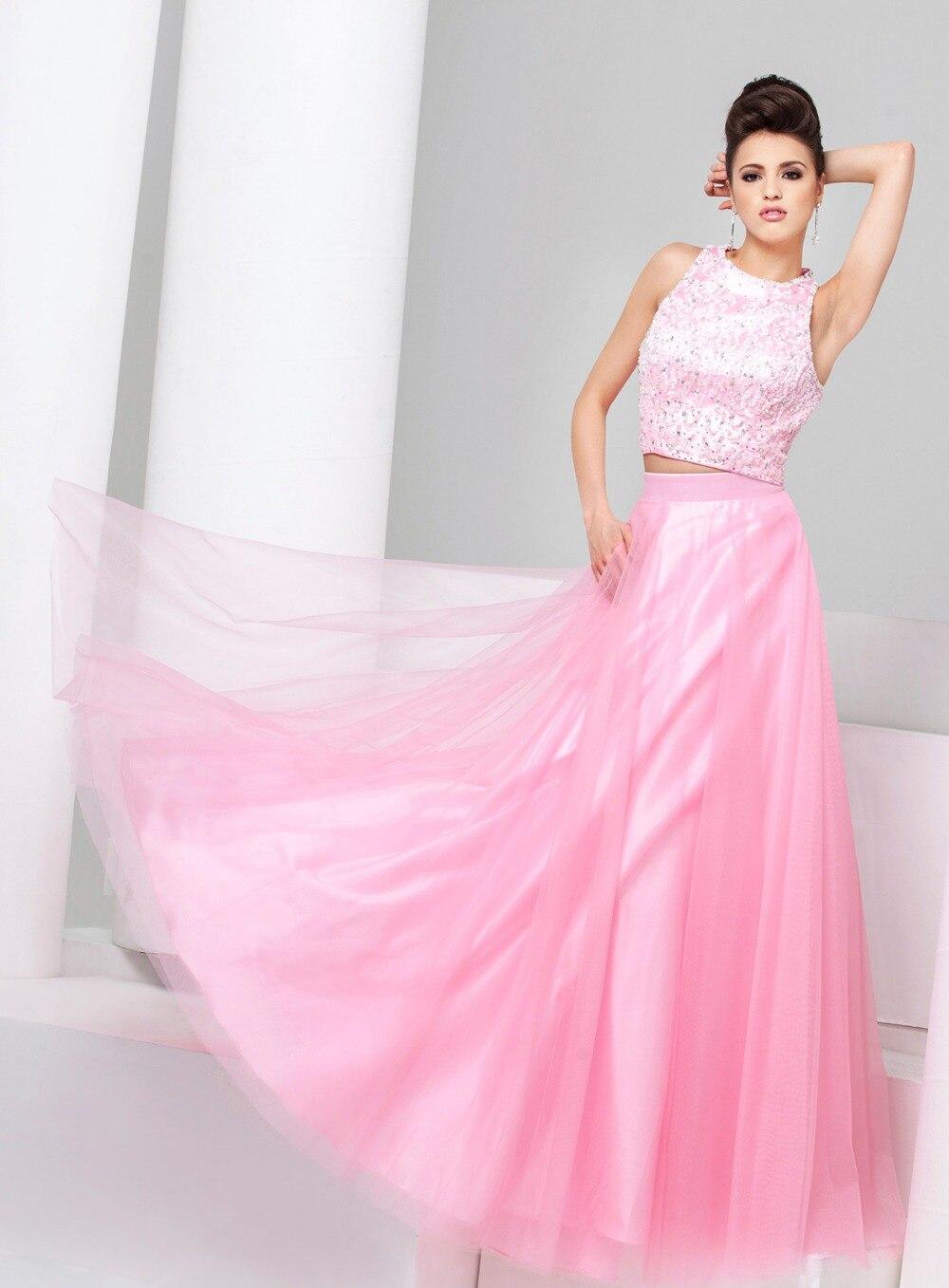 Rosa o verde prom vestidos con cuentas blusa falda de tul vestidos ...