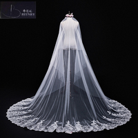 BRITNRY In Stock Cathedral Wedding Veil Long Lace Edge with Sequins Ivory Veil Luxury Wedding Accessories Mantilla Wedding Veils