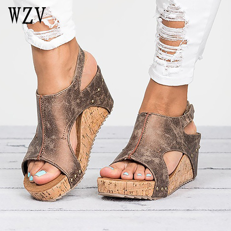 Plus Size 42 43 New 2018 Wedge Heels Shoes woman Comfortable Woman Sandals Summer Fashion Gladiator Roman Shoes B585 women wedges sandals plus size 36 42 woman summer shoes 2018 new fashion casual shoes for woman european gladiator sandals