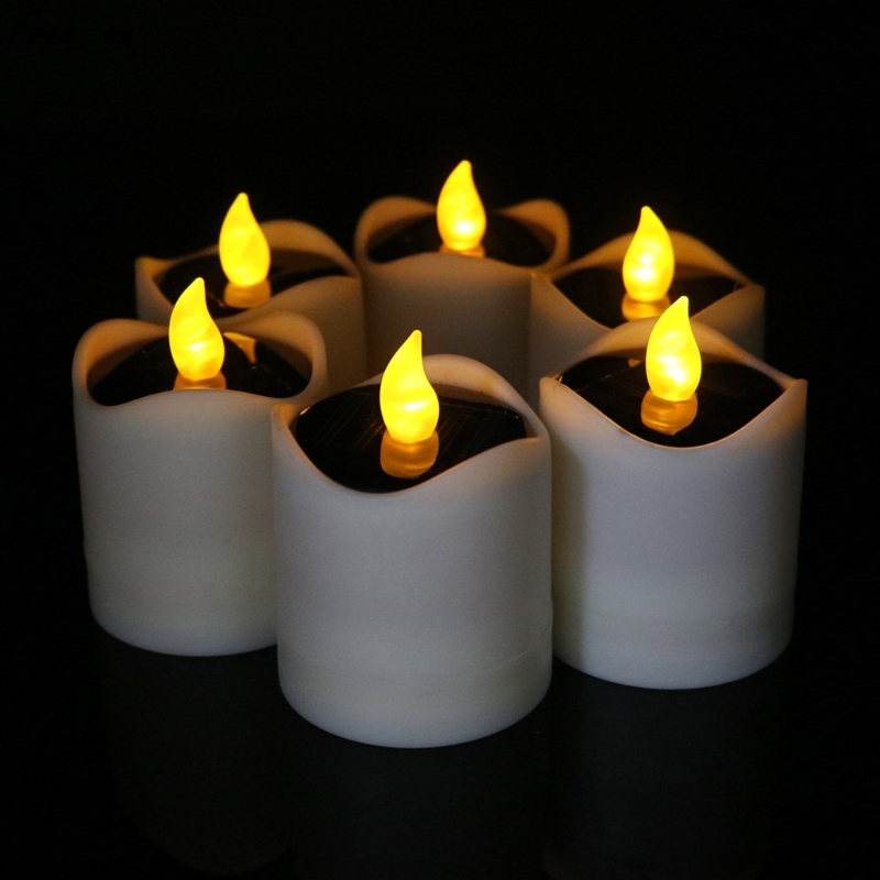 Solar Powered LED Candle Light Yellow Flicker Tea Lamp Festival Wedding Romantic Decor