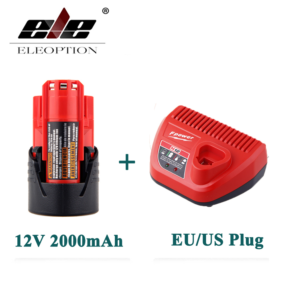 ELEOPTION 12V 2000mAh Li-ion Rechargeable Power Tool Battery For Milwaukee M12 48-11-2401 2510-20 48-59-1812+ Charger replacement li ion battery charger power tools lithium ion battery charger for milwaukee m12 m18 electric screwdriver ac110 230v