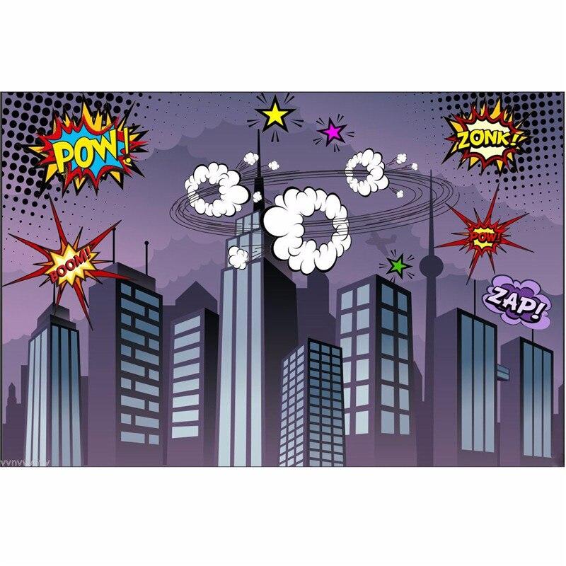 7x5FT Vinyl Photography Background Superhero City Theme For Studio Photo Props Photographic Backdrops Cloth 2.1x 1.5m