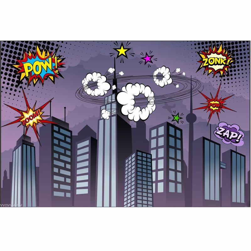7x5FT Vinyl Photography Background Superhero City Theme For Studio Photo Props Photographic Backdrops cloth 2.1x 1.5m thin vinyl photography background photo backdrops christmas theme photography studio background props for studio 5x7ft 150x210