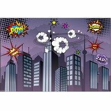 7x5FT Винил Фотографии Фоном Супергероя Города Тема Студия Фотография Реквизит Фотографические Фонов ткани 2.1×1.5 м