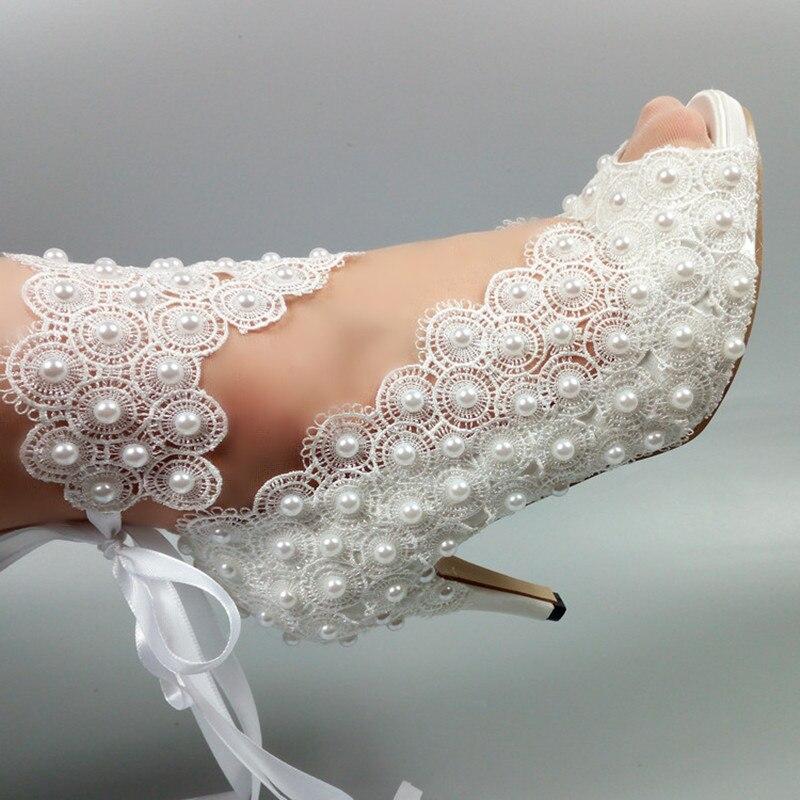 Chaussures de mariage femmes à lacets fleur blanche 2019 Peep Toe ouvert côté robe de soirée chaussures femme 5 cm/8 cm/10 cm talon fin chaussures hautes