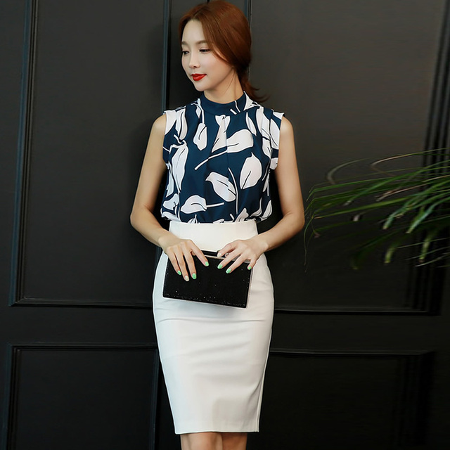 89f42fd6a90d Summer Sleeveless Print Blouse Shirt White Pencil Skirt Women Two Pieces  Sets Office Work Cloth Sexy Bodycon Midi Suit Dresses