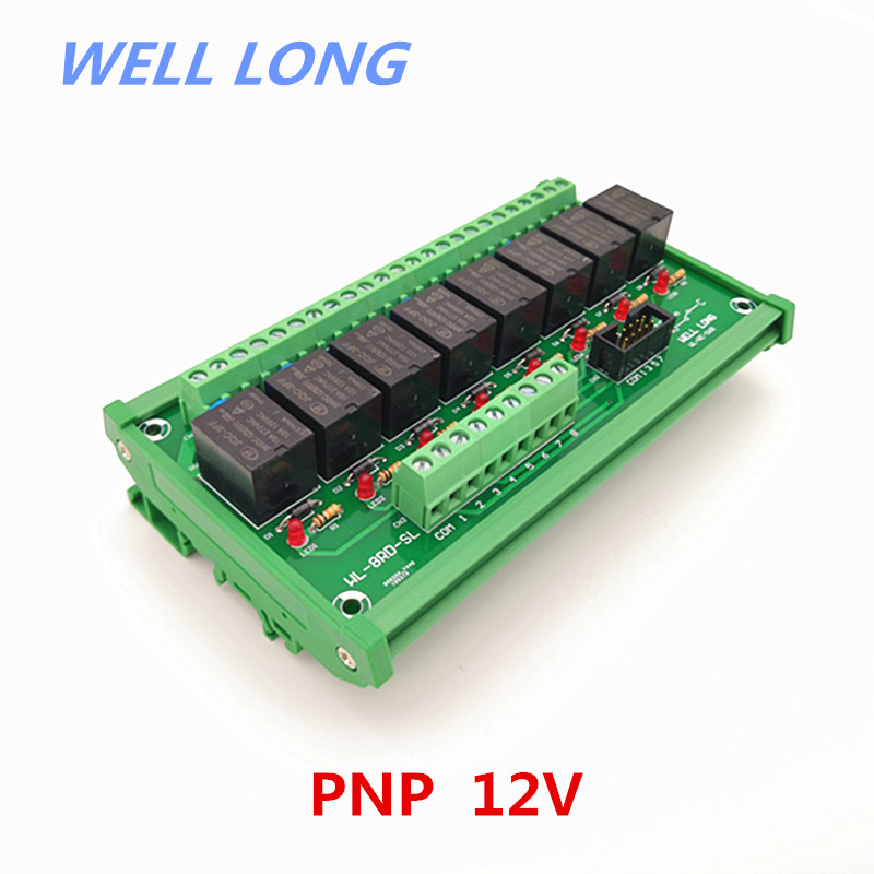 DIN Rail Mount 8 Channel PNP Type 12V 15A Power Relay Interface Module,HF JQC-3FF-12V-1ZS Relay.DIN Rail Mount 8 Channel PNP Type 12V 15A Power Relay Interface Module,HF JQC-3FF-12V-1ZS Relay.