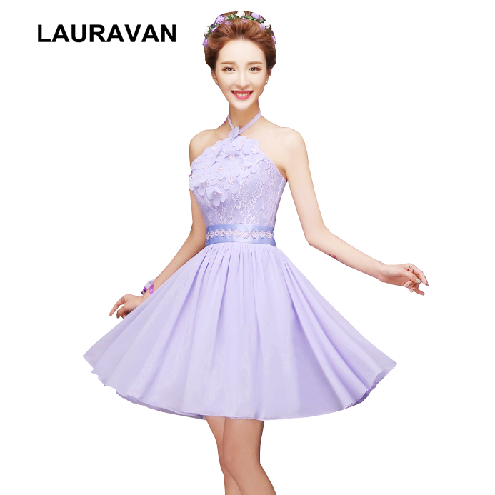 Special Occasion Women Beautiful Purple Lavender Modest Sleeveless Chiffon Cocktail Dresses Halter Neck Dress Under 100