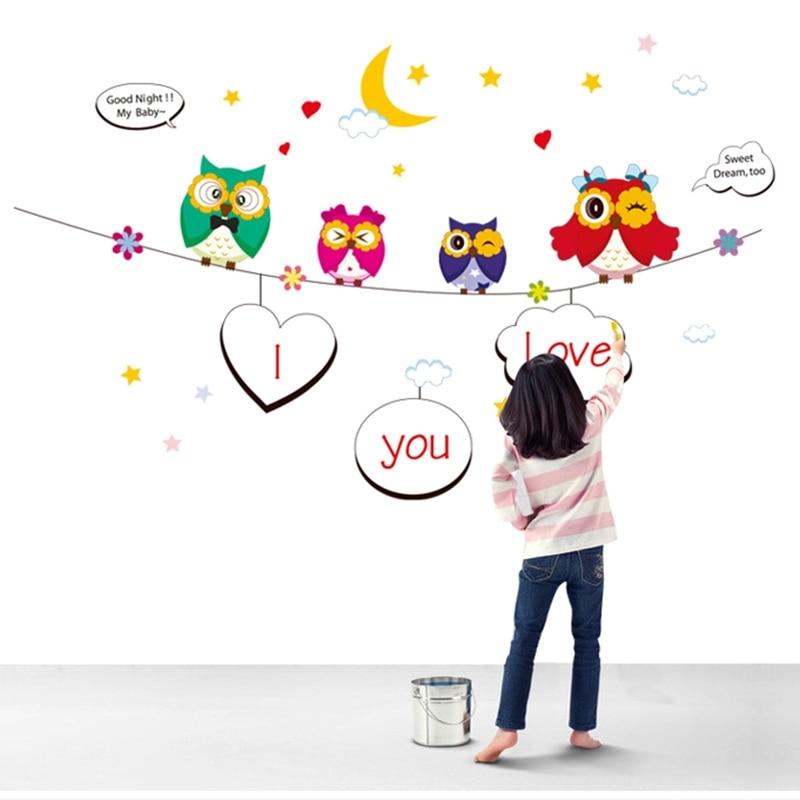 Uşaq Uşaqları Divar Etiketləri Bayquşlar DIY Ev Dekorasiya Divar - Ev dekoru - Fotoqrafiya 5