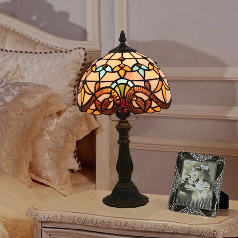 WOERFU Tiffany Table Lamp E27 Bedroom Bedside Lamp Creative Fashion Retro Table Lamp