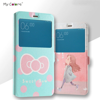 High Quality Window View Card Slot Flip Stand PU Leather Magnetic Buckle Cartoon Painting Cover For
