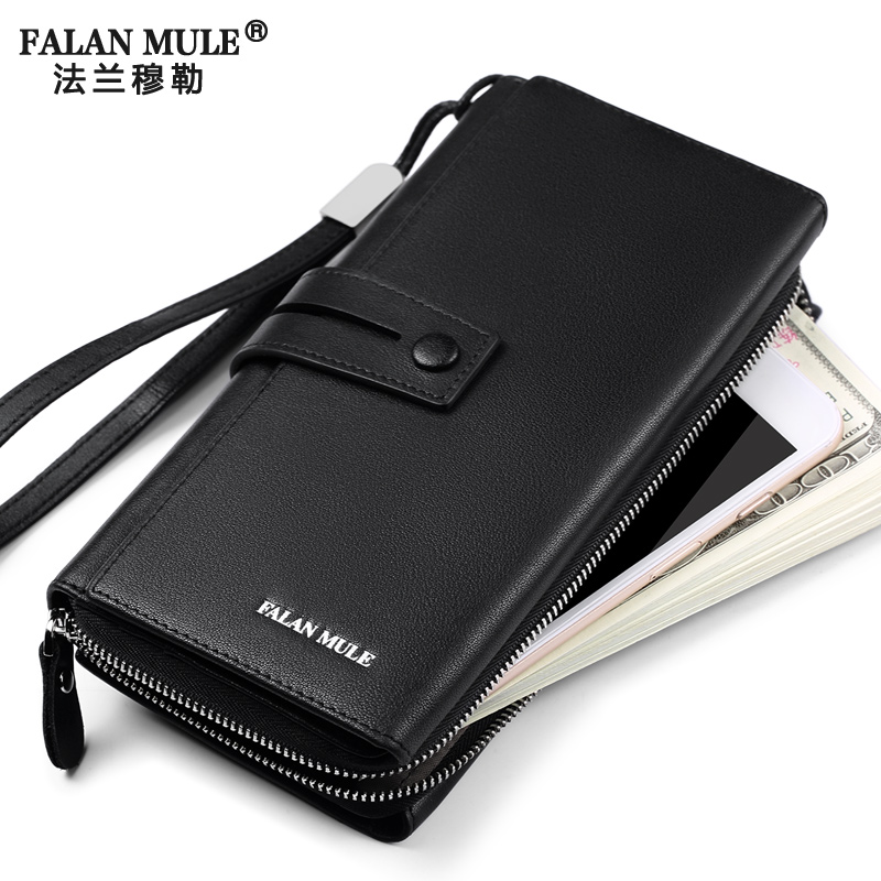 купить FALAN MULE Fashion Luxury Men Wallets Brand Long Genuine Leather Purse Business Clutch Wallet по цене 4746.23 рублей