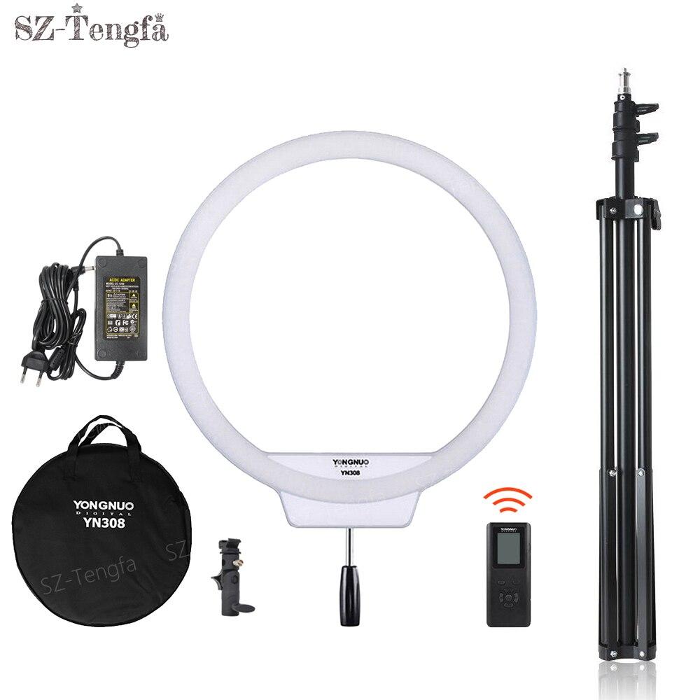 YongNuo YN308 Selfie Ring LED Light 3200K~5500K Bi-Color Temperature LED Video Light Wireless Remote CRI95 With Handle Grip