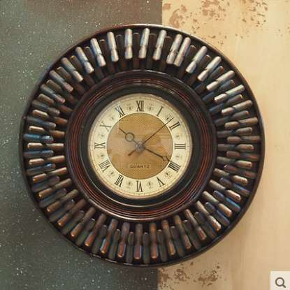 Kingart Wall Clock Vintage Bamboo & Wooden Frame Clock Antique Color Wall Decoration Quartz Wall Clock