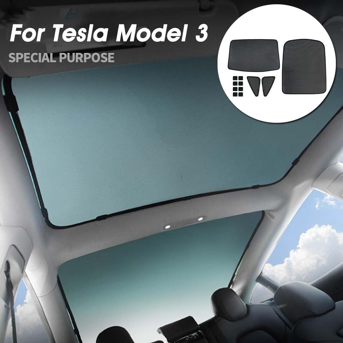 Auzan Car Skylight Blind Shading Net Car Roof Mesh Sunroof Sunshade Cover Curtain Insulation Anti UV Black Set For Tesla Model 3
