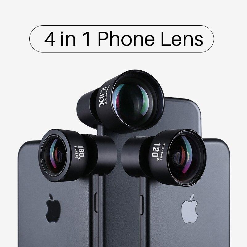 Ulanzi 4 em 1 Kit Lens Camera Phone HD 4 K Telescópio Grande Angular Fisheye Marco Telefone Xs Max X lentes para iPhone Samsung S9 S8