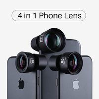 Ulanzi 4 in 1 Camera Phone Lens Kit HD 4K Wide Angle Telescope Fisheye Marco Phone Lenses for iPhone Samsung Xiaomi Huawei