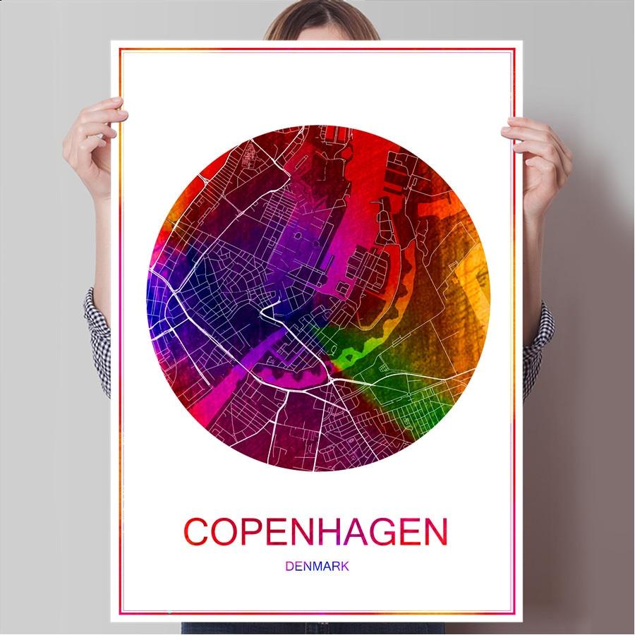 World Famous City Map COPENHAGEN Denmark Print Poster On Paper Or Canvas Wall Sticker Bar Pub Cafe Living Room Home Decor