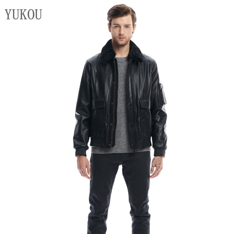 Mens Jackets 100% Cow Leather Collar Business Men Flying Jacket Fur Collarreal Leather High-Quality Coat Best Sellers(China)