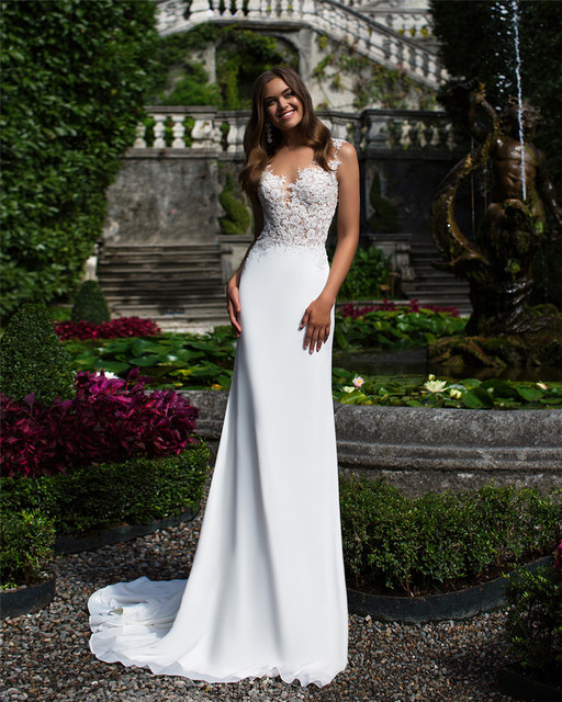V Neck See Through Bodice With Lace Decorate Nina Wedding Dress Sheath Beach Chiffon Bridal