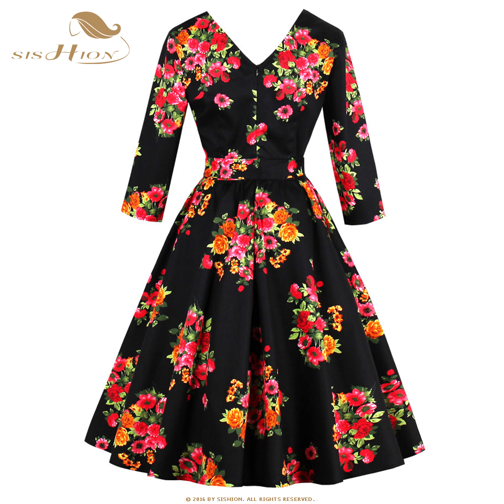 SISHION 2017 Autumn Dress Long Sleeve Black Floral Print ...