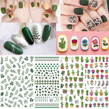 10 Pcs Nail Stickers 3D Self-Adhesive Cactus/ fruit/green leaves /Cute Flower Sticker DIY Decal For Art Decorate