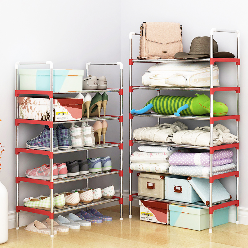 Multi Layer Shoe Rack with handrail Galvanized steel pipe shoe cabinet shoe organizer removable shoe storage for home furniture shoe rack nonwovens steel pipe 4 layers shoe cabinet easy assembled shelf storage organizer stand holder living room furniture