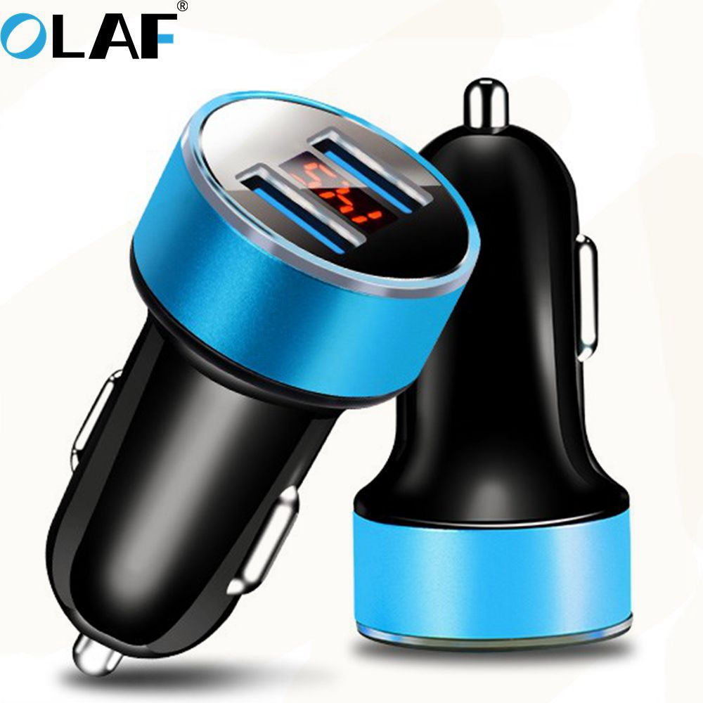 Olaf Universal Fast USB Car Charger With LED Display Dual 2 USB Charger Ports Fast Charging Charger 5V 3.1A Car-Charger