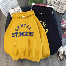Zuolunouba High Street Knit Hooded Letter Lady Fleece Pullovers Ins Style Add Velvet Thick