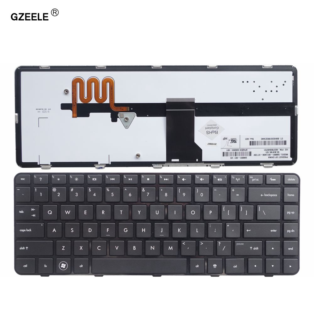 GZEELE New Keyboard for HP Pavilion DM4 DM4T DM4X DM4-1100 DM4-2100 DM4-1164nr Laptop US English with Backlit new original laptop lcd plamrest touchpad case cover for dm4 dm4 1000 dm4 2000 series keyboard c shell 6070b0487901 636946 001