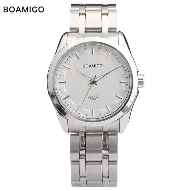 men quartz watch silver steel band fashion business dress watches for men BOAMIGO brand hot male wristwatches relogio masculino