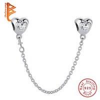 BELAWANG Echt 925 Sterling Silber Cartoon Herz Sicherheitskette Stopper Charme fit BW Armbänder für Frauen DIY Schmuck