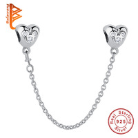 Genuine Real 925 Sterling Silver Disny Mickey Safety Chain Stopper Charms Fit Pandora Bracelets For Women