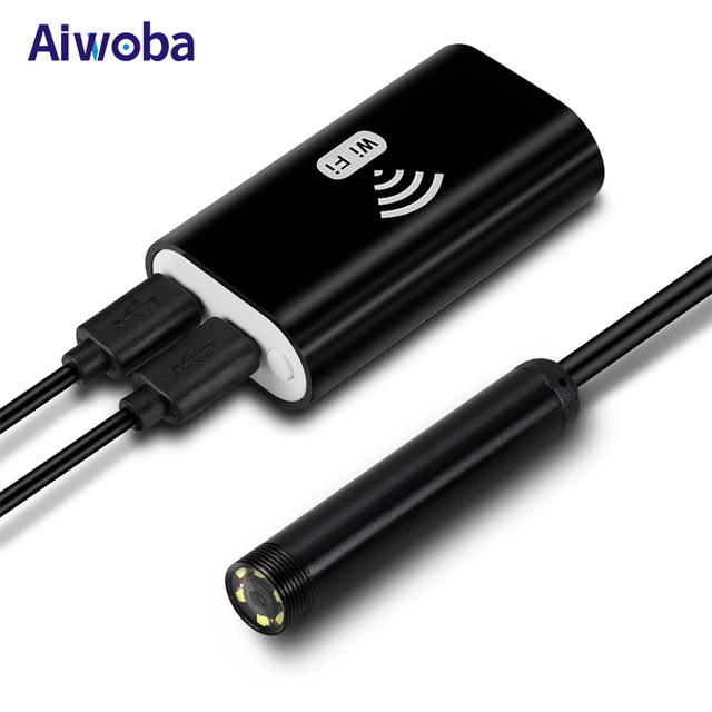 AIWOBA Mini 8mm Wifi Endoscope Camera 1m 1.5m 2m 3.5m 5m WaterProof Borescope Inspection Flexible Camera For Iphone Android PC