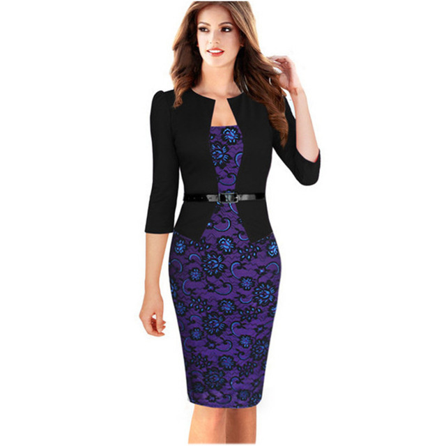 Oxiuly 2015 women plus size dresses 4XL Faux Twinset Belted Tartan Floral Lace Patchwork Business Pencil Sheath Bodycon Dress