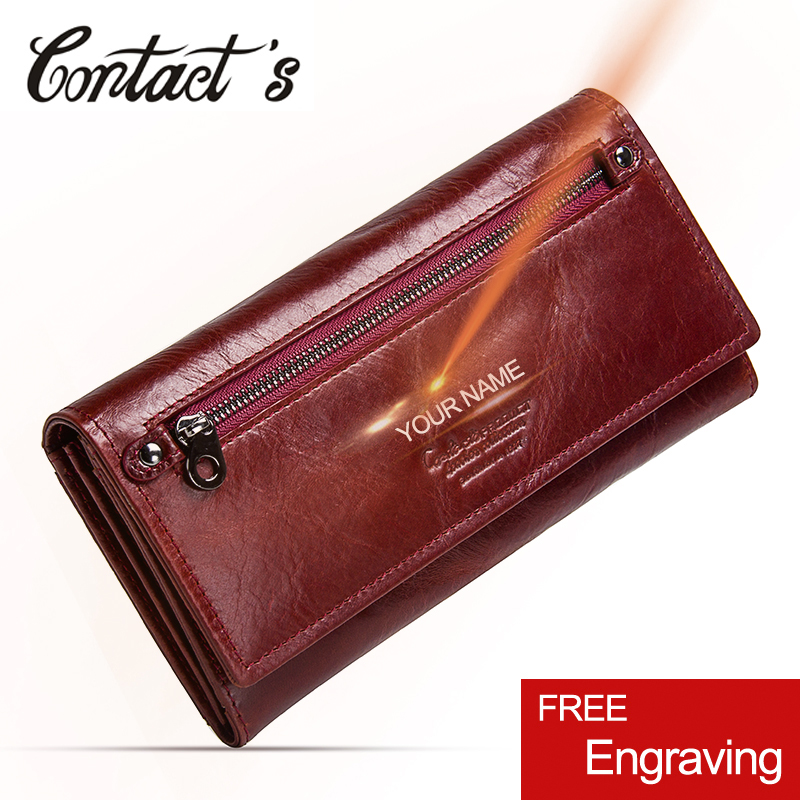 Contact's New Genuine Leather Women Clutch Wallets Multiple Cards Holder Long Female Purse With Phone Bag Fashion Woman Wallet(China)