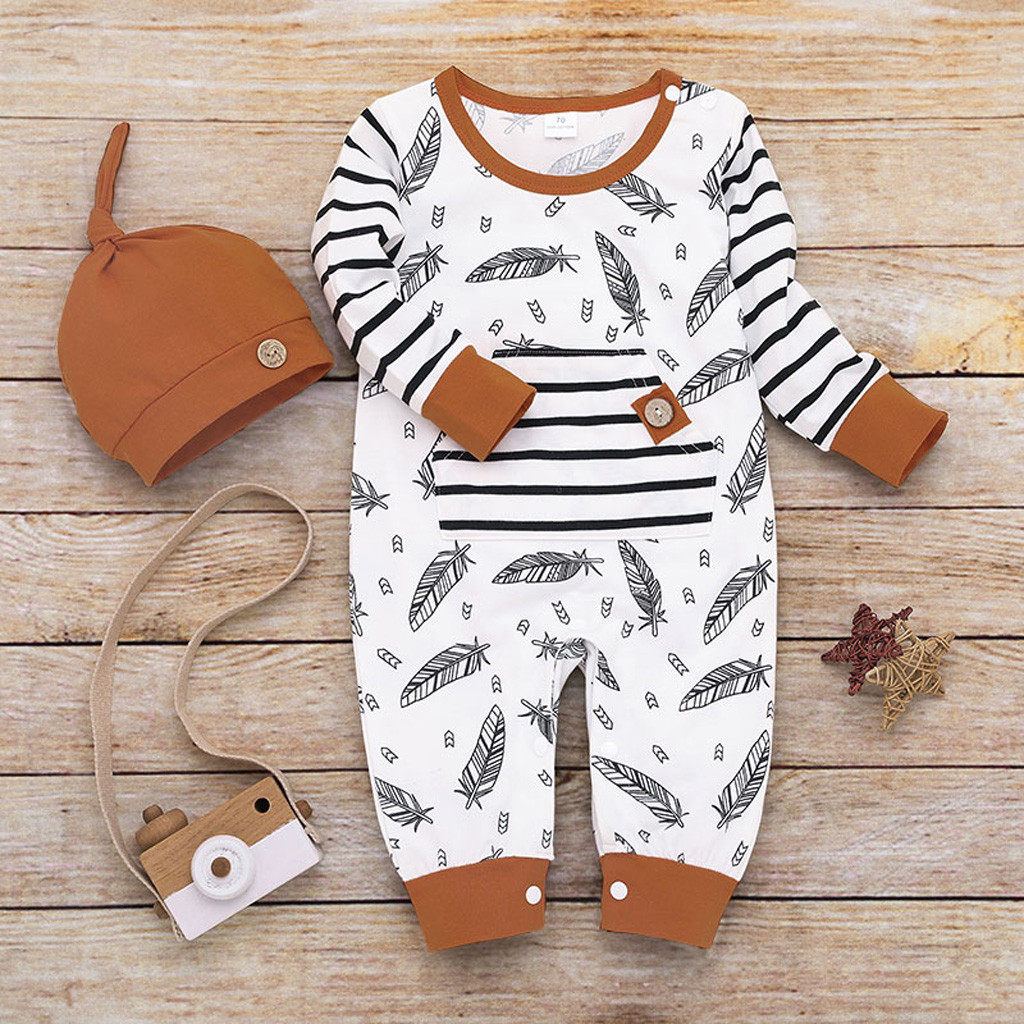 Baby Boy Girl Feather Striped Long Sleeve Romper With Pocket+Hat Sets Newborn Infant Jumpsuit Outfit 2019 Autumn Fashion Clothes